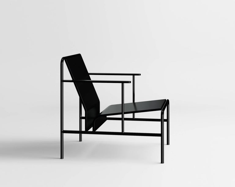 Armchair by Russian designer Dmitry Samygin  Lacquered wood and metal Measures: 70 cm x 58 cm x 71 cm  After studying Applied Arts at the National University of Art and Industry, Stroganov, Dmitry Samigyn quickly collaborated with his father, a