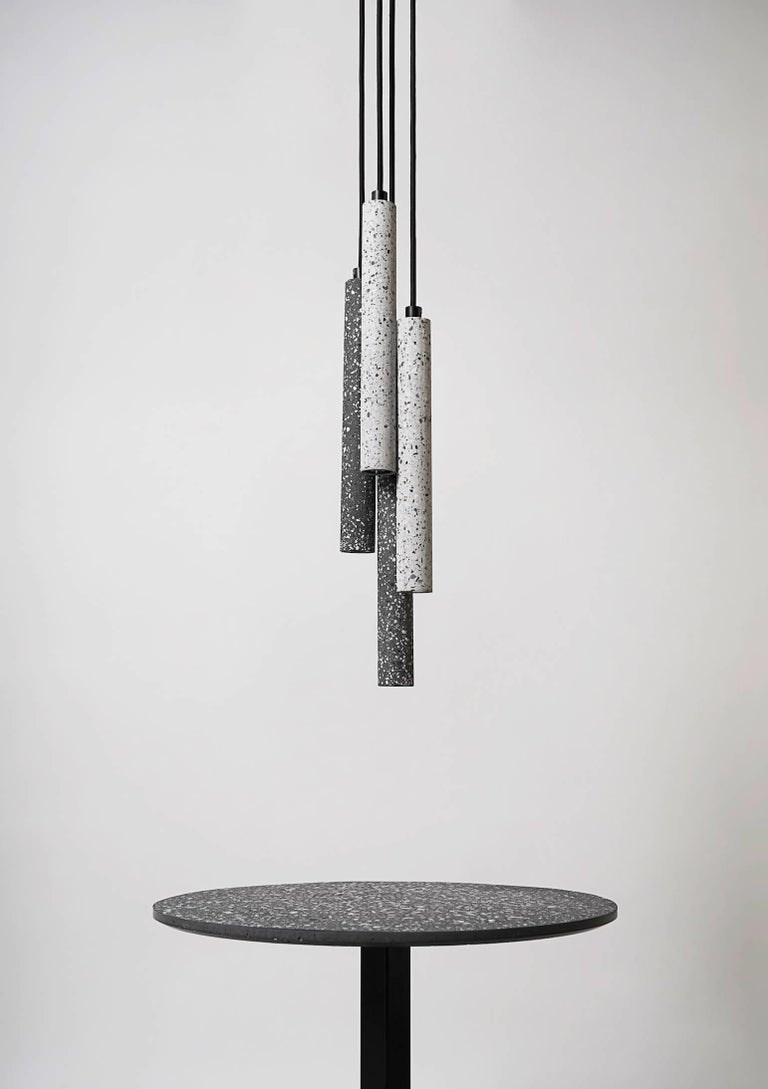 Industrial Bang, Black Terrazzo and Concrete Ceiling Lamp by Bentu Design For Sale