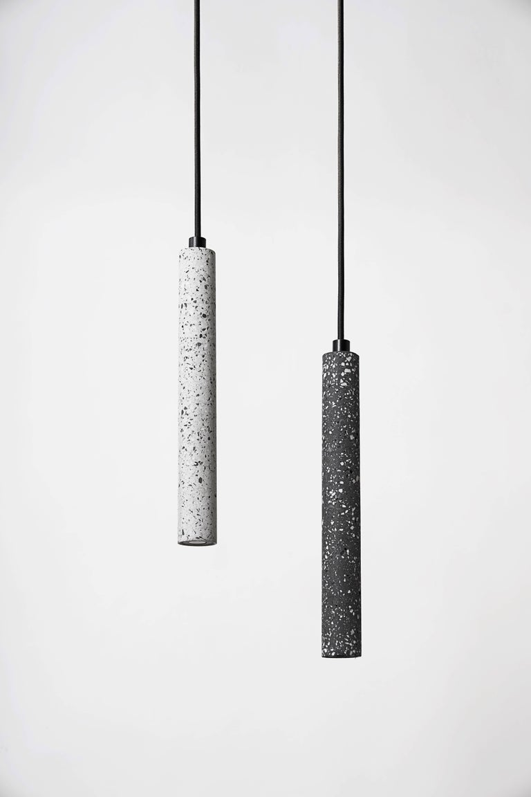 Contemporary Bang, Black Terrazzo and Concrete Ceiling Lamp by Bentu Design For Sale