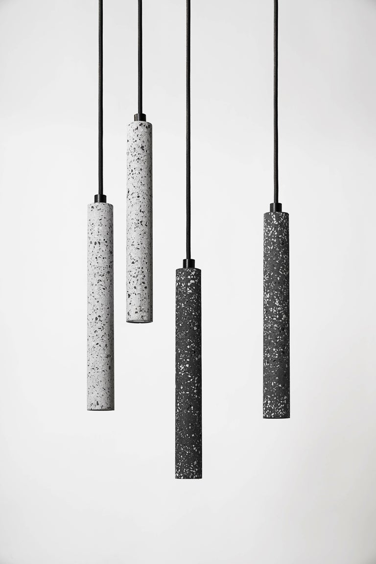 Bang, Black Terrazzo and Concrete Ceiling Lamp by Bentu Design For Sale 1
