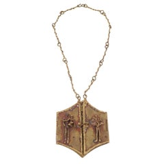 Pal Kepenyes Brutalist Brass Locket Necklace