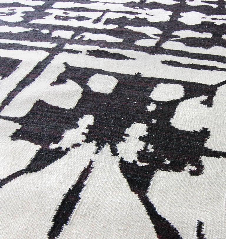 Nepalese Eskayel, Banda, B&W Flat-Weave Rug For Sale