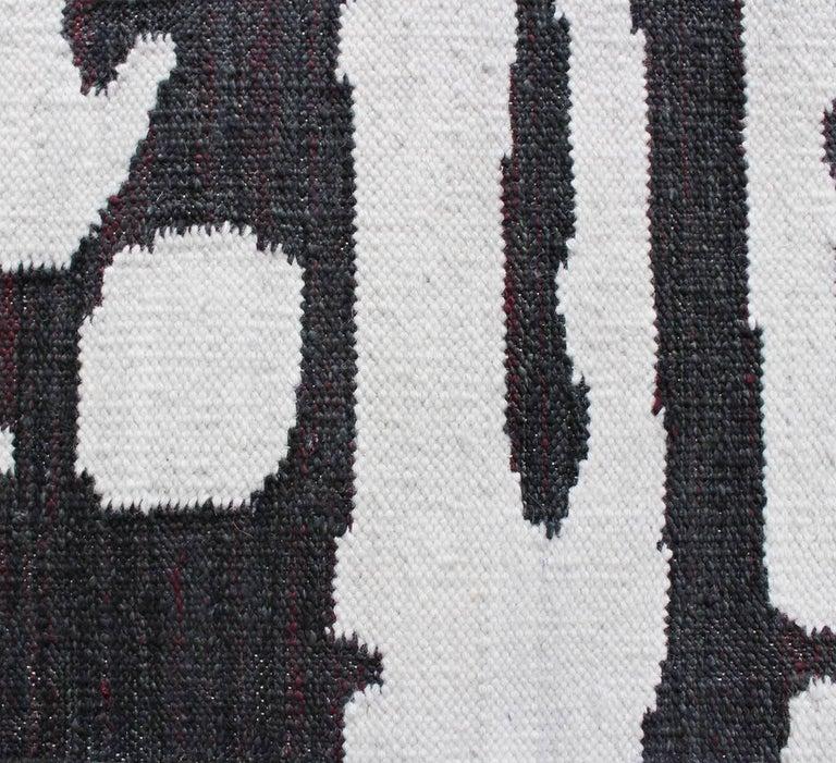 Hand-Woven Eskayel, Banda, B&W Flat-Weave Rug For Sale