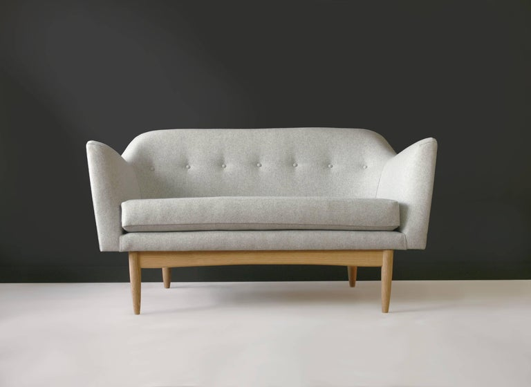 Scandinavian Modern Modern Two-Seat Sauvie Sofa in Heathered Grey Upholstery with Oak Base For Sale