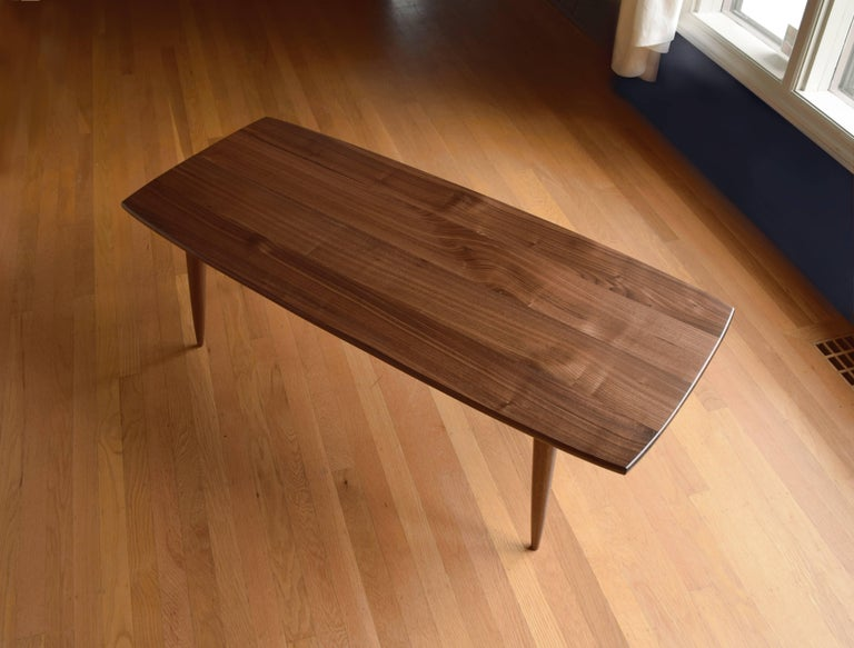 Mid-Century Modern Modern Coffee Table in Black Walnut with Oil and Wax Finish For Sale