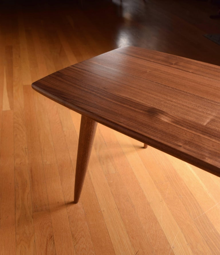 American Modern Coffee Table in Black Walnut with Oil and Wax Finish For Sale