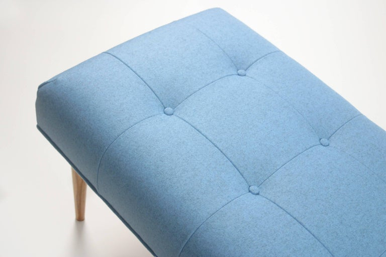 Mid-Century Modern Modern Button Tufted Bench Upholstered in Heathered Blue with Oak Spindle Legs For Sale