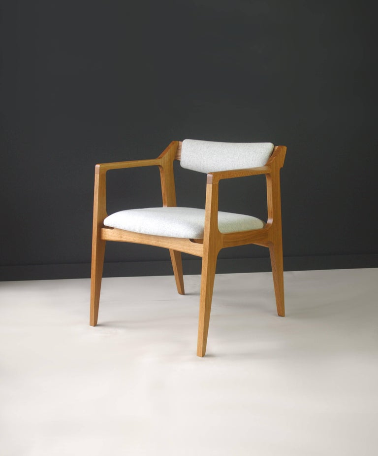 Contemporary Modern Side Chair in White Oak with Heathered Grey Upholstery For Sale