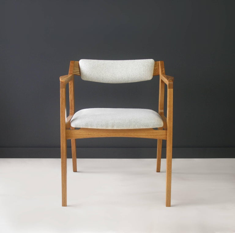 Modern Side Chair in White Oak with Heathered Grey Upholstery In New Condition For Sale In Portland, OR
