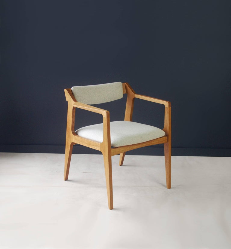 American Modern Side Chair in White Oak with Heathered Grey Upholstery For Sale