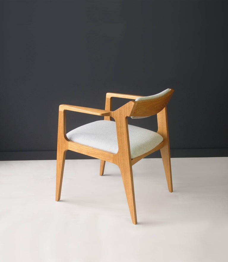 The chair was built using locally sourced white oak, though it can be made in other species as resources permit (if you're looking for something specific, contact me to check availability). The frame is treated with a hand-rubbed oil and wax finish,