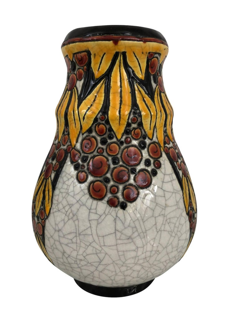 Fired Vase B.F.K. La Louvière Belgiques by Charles Catteau, Art Deco, Belgium, 1930 For Sale