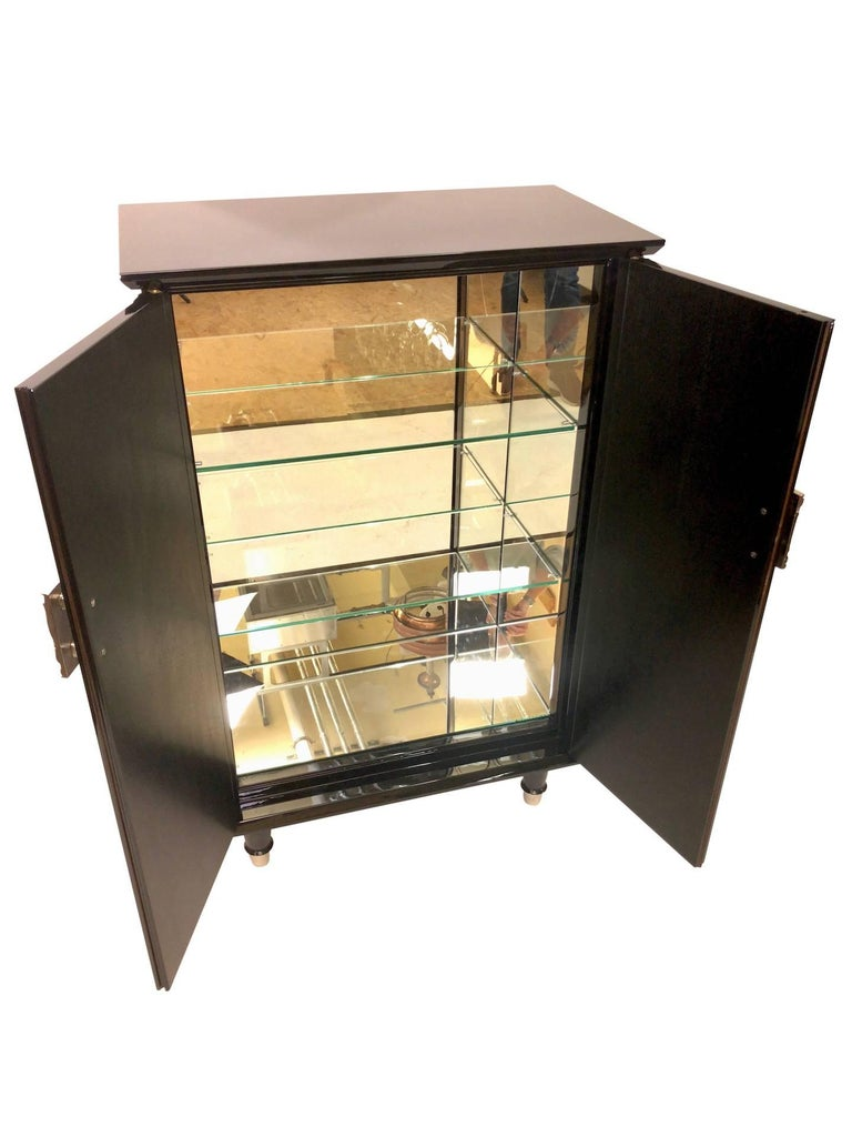 Blackened 1930s French Art Deco Bar Furniture in Black Lacquer with Nickelled Fittings For Sale