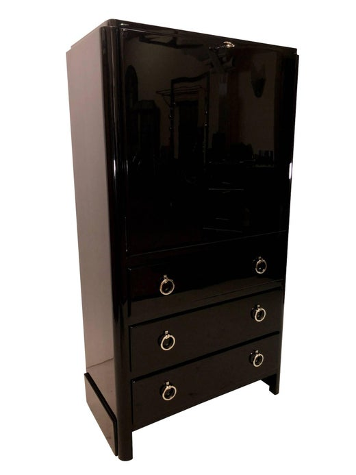 Strong 1930s french art deco bureau in black lacquer with drawers for sale at 1stdibs
