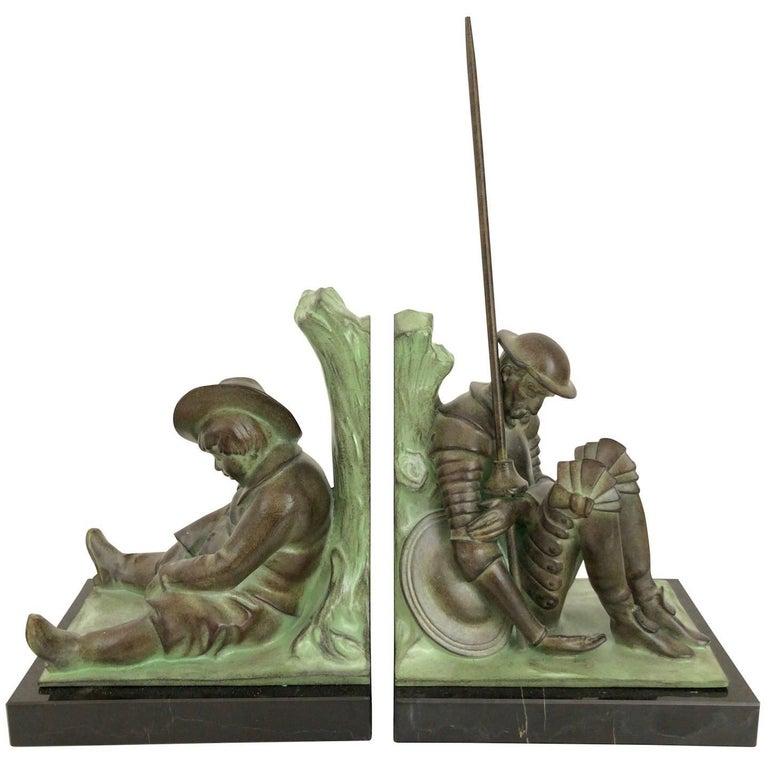 Art Deco Bookends, Don Quichotte by Janle, Original Max Le Verrier For Sale