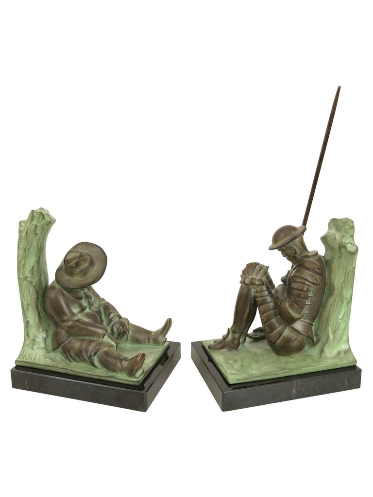 French Art Deco Bookends, Don Quichotte by Janle, Original Max Le Verrier For Sale