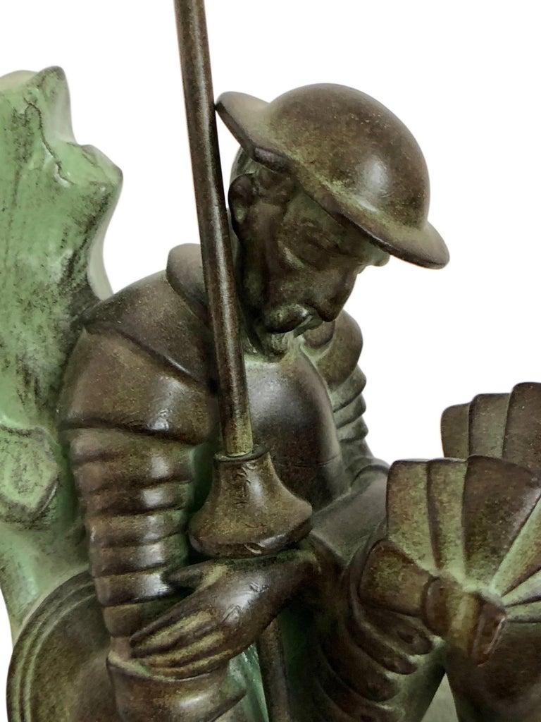 Spelter Art Deco Bookends, Don Quichotte by Janle, Original Max Le Verrier For Sale