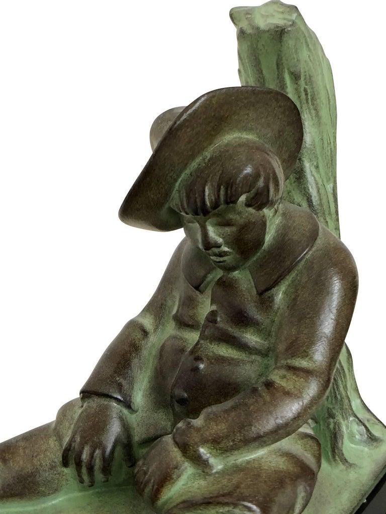 Art Deco Bookends, Don Quichotte by Janle, Original Max Le Verrier For Sale 3
