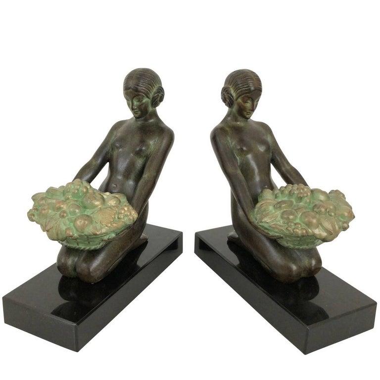 """Paar Art-Déco-Buchstützen """"Cueillette"""", Original Max Le Verrier 1"""