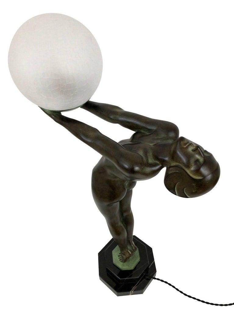 Important Art Deco Sculpture, Lamp, Lumina, Original Max Le Verrier For Sale 4
