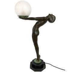 Important Art Deco Sculpture, Lamp, Lumina, Original Max Le Verrier