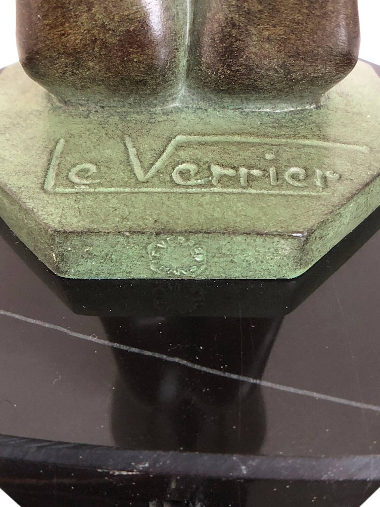 Wichtige Art Deco Skulptur, Lampe, Leuchte, Original Max Le Verrier 5