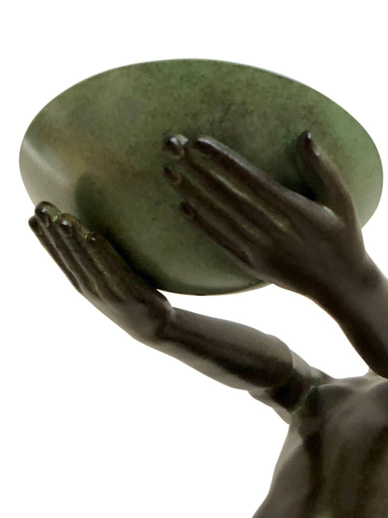 Wichtige Art Deco Skulptur, Lampe, Leuchte, Original Max Le Verrier 7