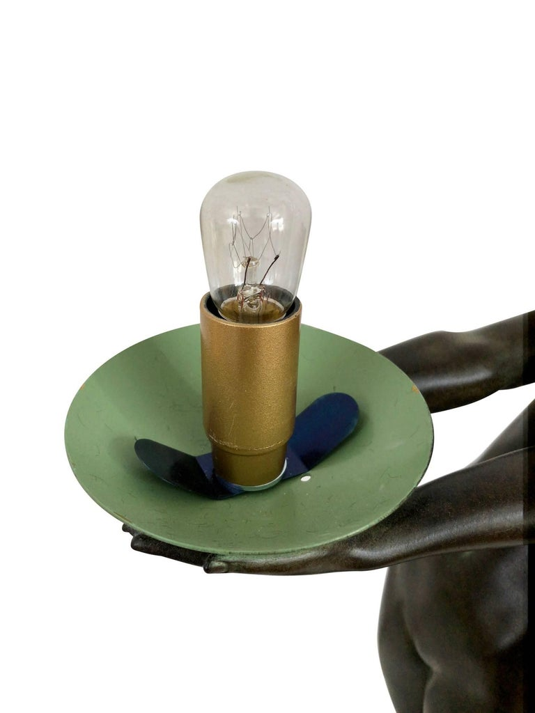 Wichtige Art Deco Skulptur, Lampe, Leuchte, Original Max Le Verrier 8