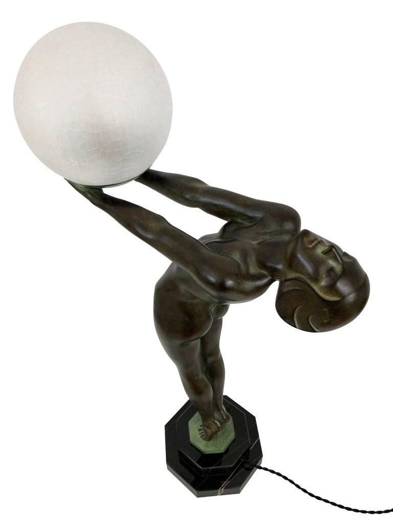 Wichtige Art Deco Skulptur, Lampe, Leuchte, Original Max Le Verrier 10