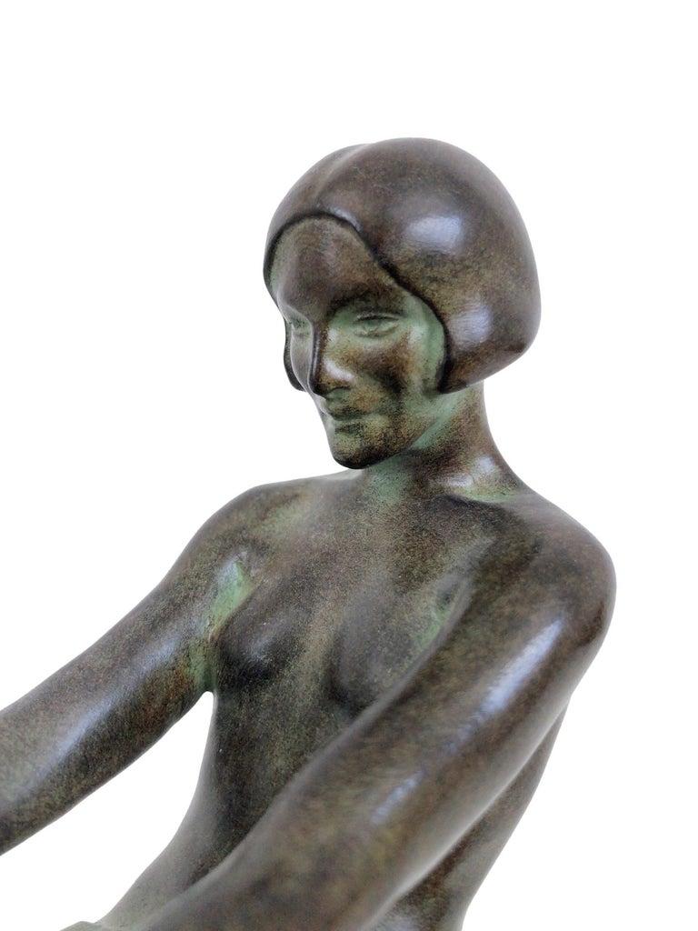 Contemporary Delassement Lumineux French Art Deco Sculpture Lamp by Max Le Verrier For Sale