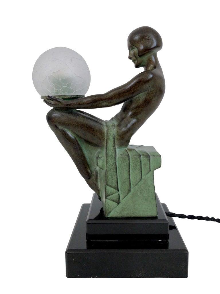 Delassement Lumineux French Art Deco Sculpture Lamp by Max Le Verrier For Sale 9