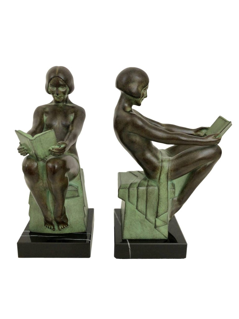 French Art Deco Bookends, Delassement, Original Max Le Verrier For Sale
