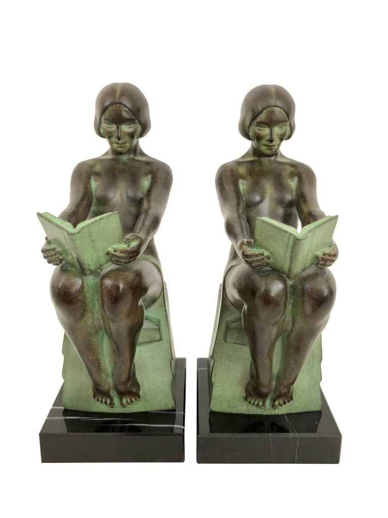 Art Deco Bookends, Delassement, Original Max Le Verrier In Excellent Condition For Sale In Baden-Baden, DE