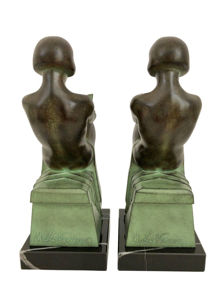 Contemporary Art Deco Bookends, Delassement, Original Max Le Verrier For Sale