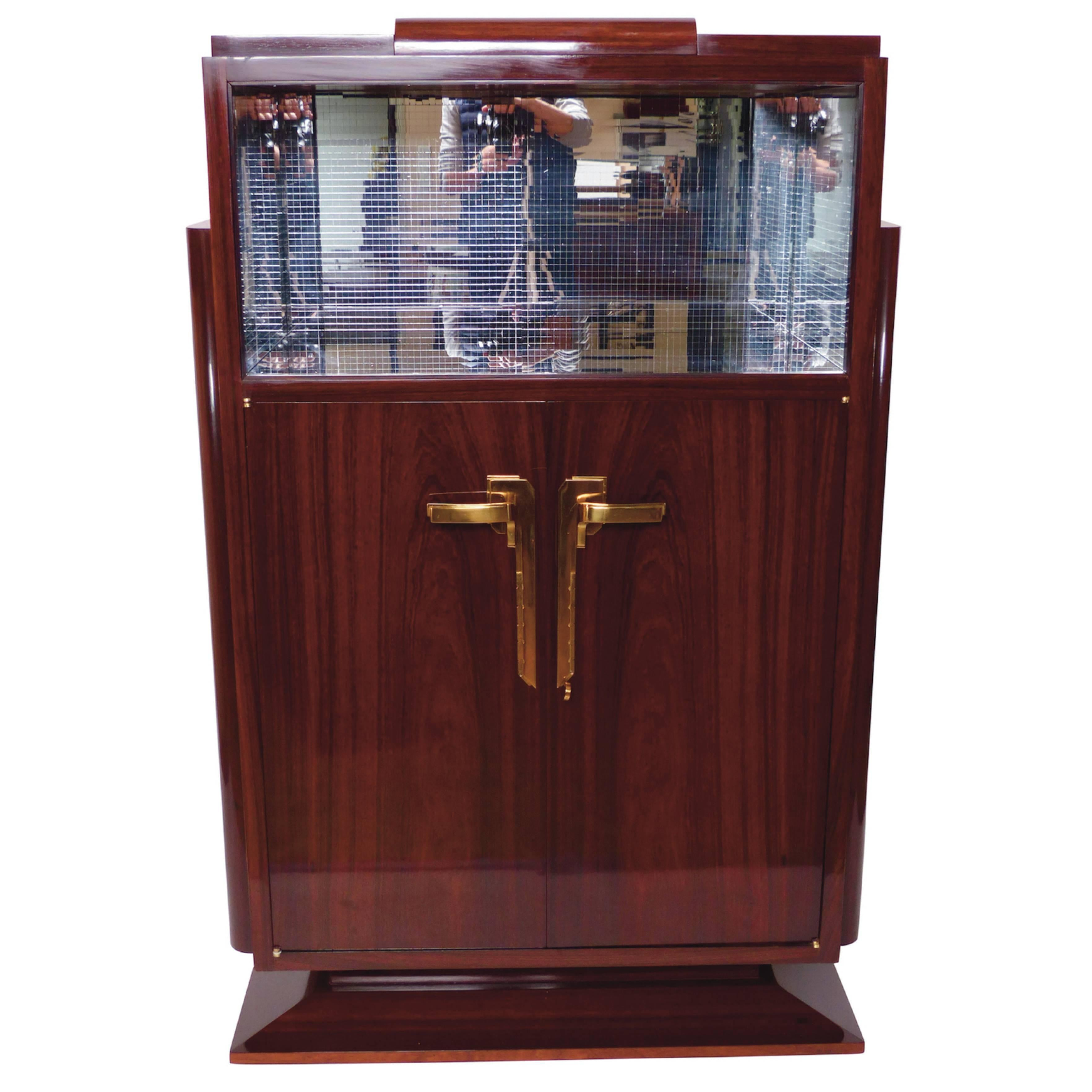 1930s Bar Cabinet In Real Wood Veneer, French Art Deco