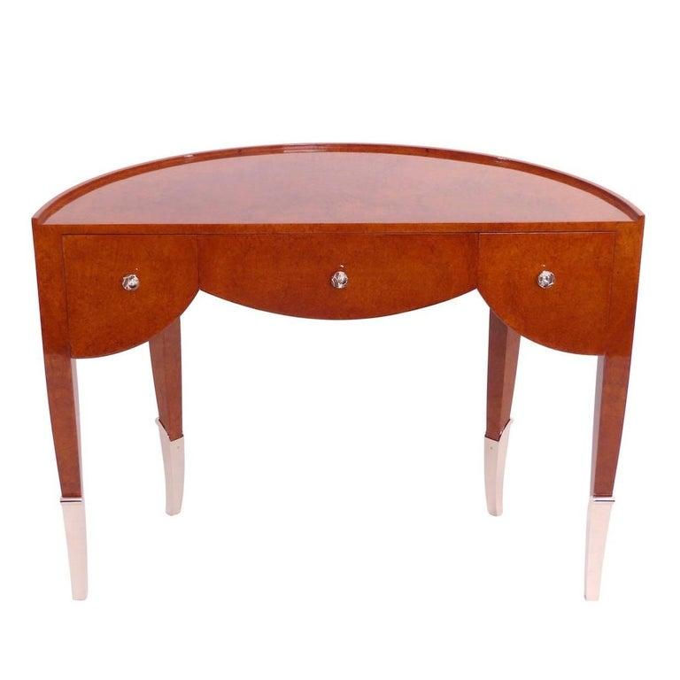 1920s Semicircle Desk in real wood veneer, French Art Deco