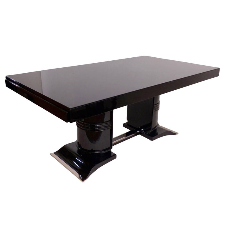 1930s Dining Table in Black Lacquer, French Art Deco