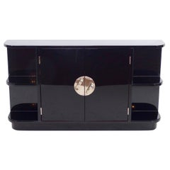 1930s Little Sideboard in Black Lacquer with Shelves, French Art Deco