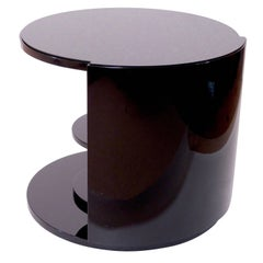 1930s Round Side Table in Black Lacquer with Gimmick, French Art Deco