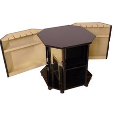 1930s Octagonal Side Table in Black Lacquer with Bar, French Art Deco