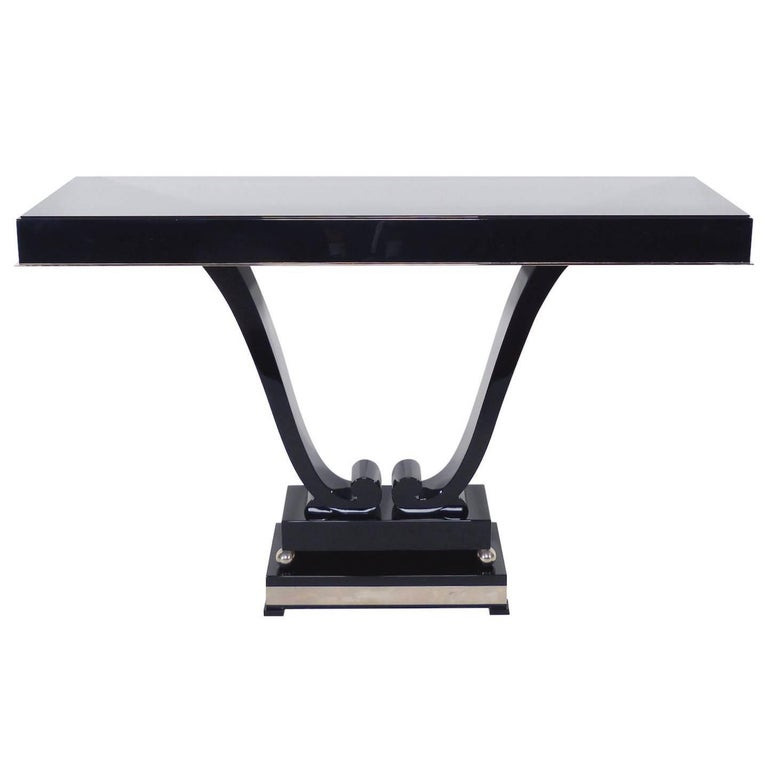 1930s Console in Black Lacquer, French Art Deco