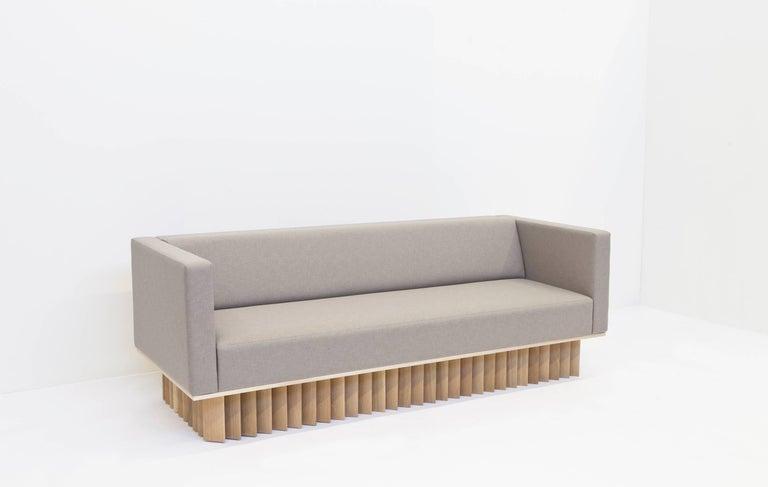 Modern Angled Wood Bar Sofa in Oak and Maharam Upholstery  For Sale