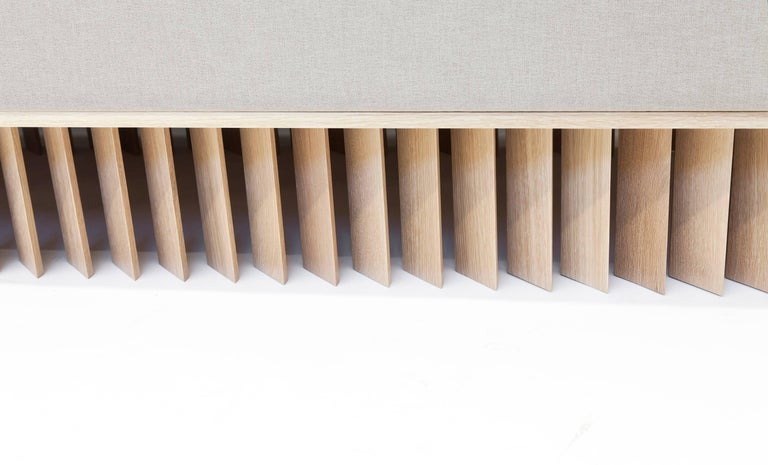 Contemporary Angled Wood Bar Sofa in Oak and Maharam Upholstery  For Sale