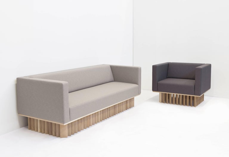 Angled Wood Bar Sofa in Oak and Maharam Upholstery  In New Condition For Sale In West Hollywood, CA