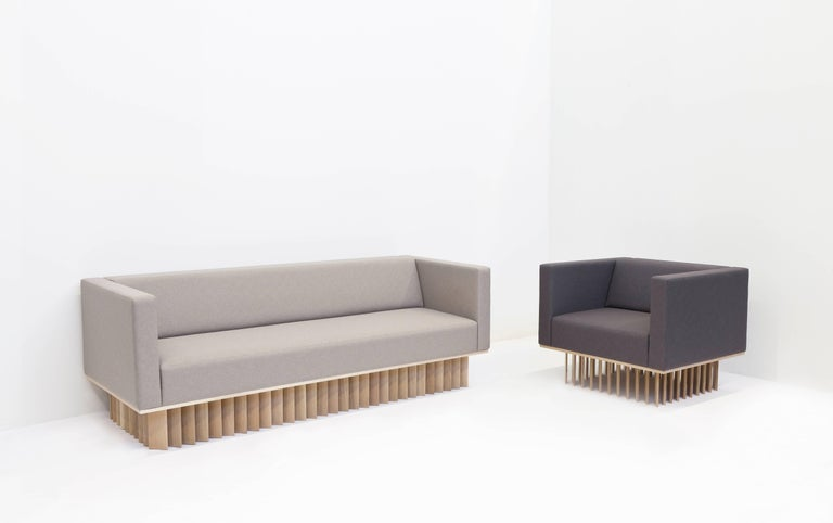 Carved Angled Wood Bar Sofa in Oak and Maharam Upholstery  For Sale