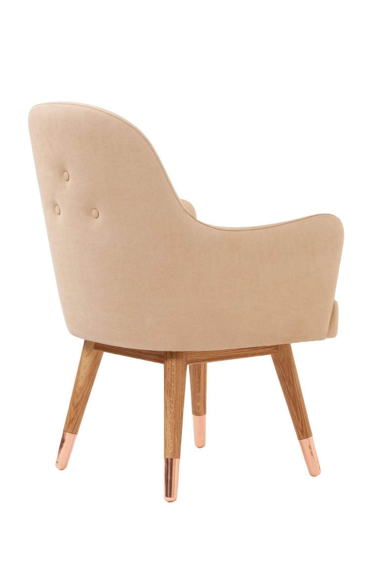 Polished Dandy Chair Armchair in Soft Suede Beige Leather, White Oak and Copper For Sale