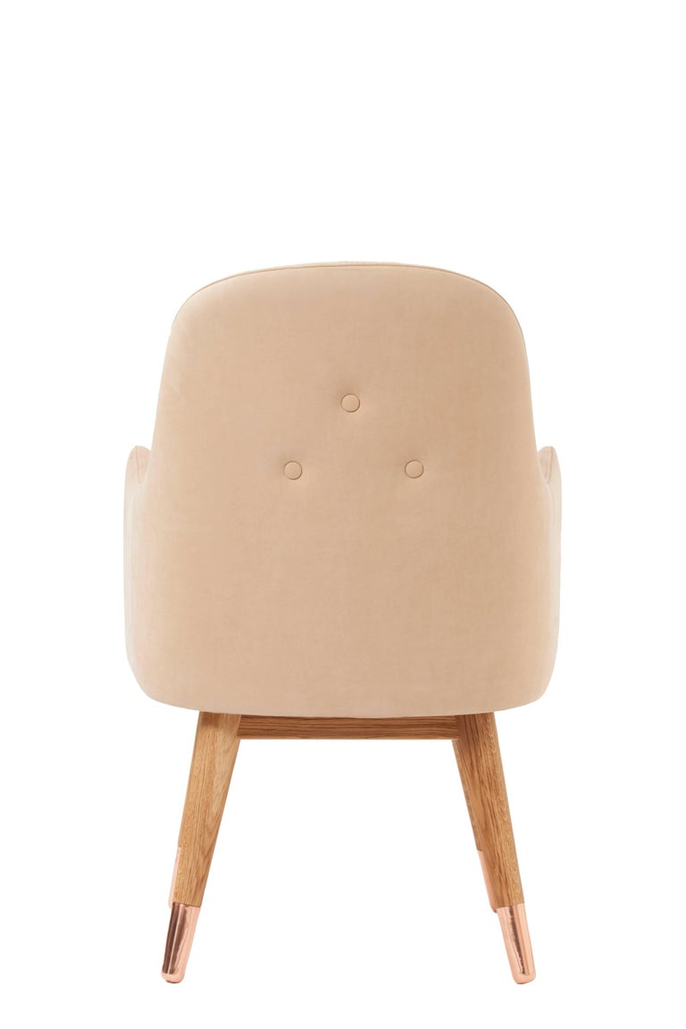 Turkish Dandy Chair Armchair in Soft Suede Beige Leather, White Oak and Copper For Sale