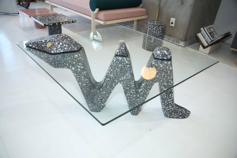 Modern Transmutation Snake Coffee Table in Terrazzo Marble and Brass by Carly Jo Morgan For Sale