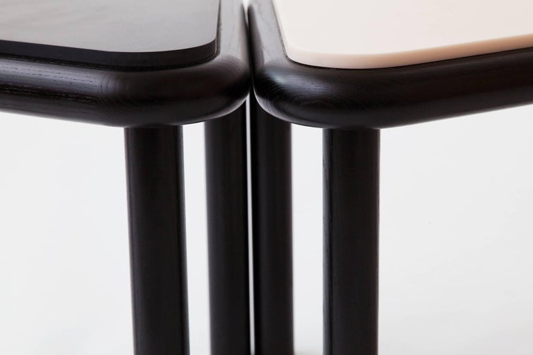 Troika Stool Side Table In Ash And Corian Black By