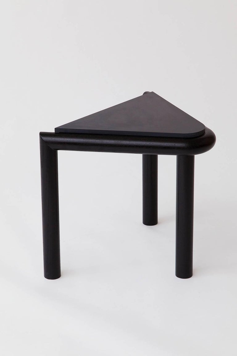 Lacquered Troika Stool or Side Table in Ash and Corian 'Peach' by Vonnegut Kraft For Sale